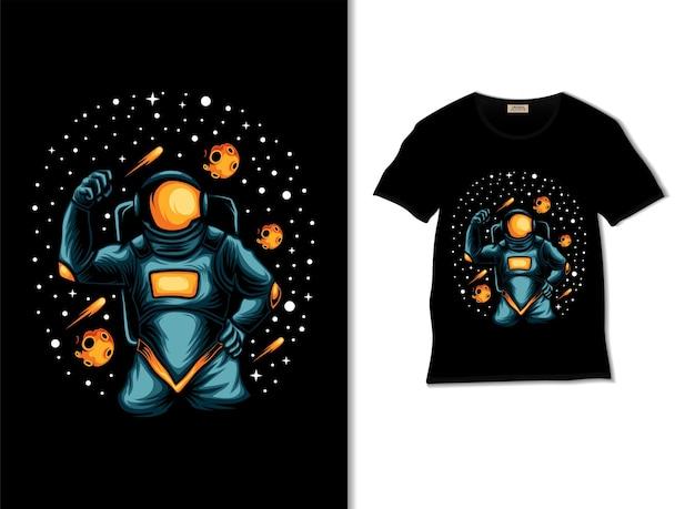Самый сильный космонавт в космической иллюстрации с дизайном футболки