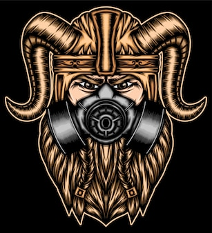 Strongest viking with gas mask.