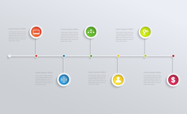 Structure timeline with business icons