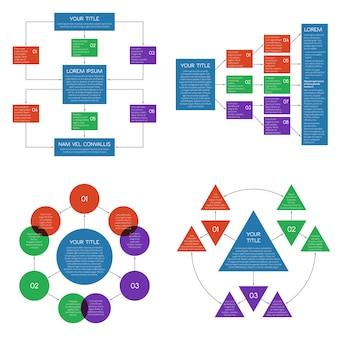 Structured flowing charts, flowchart diagrams vector set