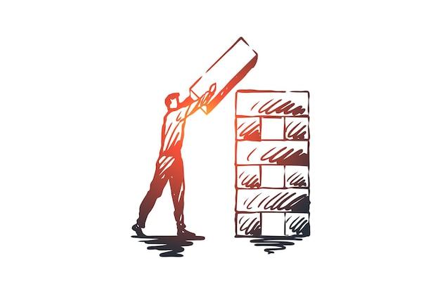 構造化、要素、組織、企業コンセプト。構造概念スケッチを整理する手描きの男。