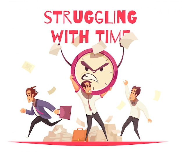 目覚まし時計と仕事に急いでいる人の怒っている漫画の顔と時間の概念に苦労しています