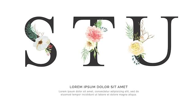 アルファベットstuの花と葉の水彩。
