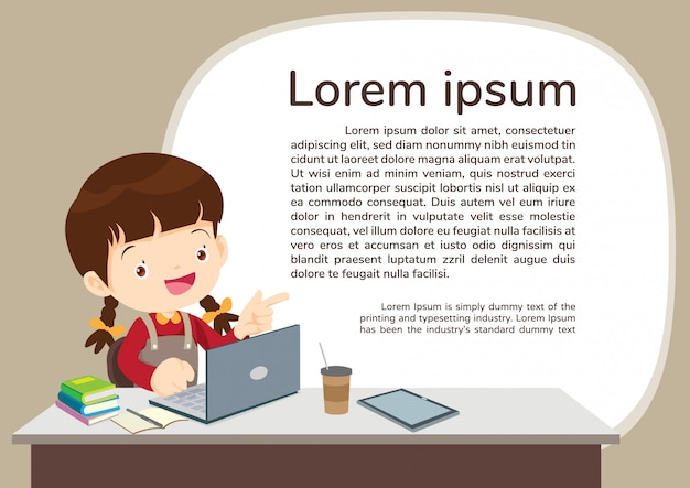 Studens boy and e-learning illustration template