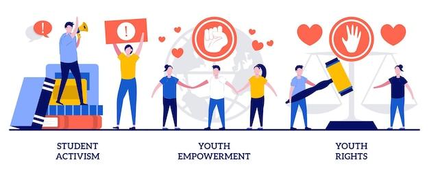 Студенческий активизм, расширение прав и возможностей молодежи, концепция прав молодежи с крошечными людьми. набор абстрактных векторных иллюстраций социального движения. возраст совершеннолетия, построение демократии, абстрактная метафора действий.