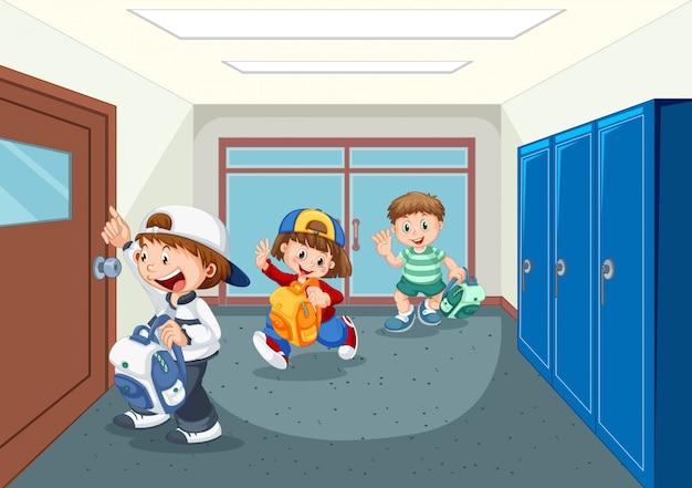 학교 복도에서 학생