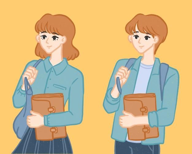学校の女の子と男の子の手描きの漫画のキャラクターに戻る学生