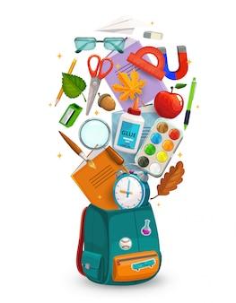 学校または教育用品が入った学生バッグ