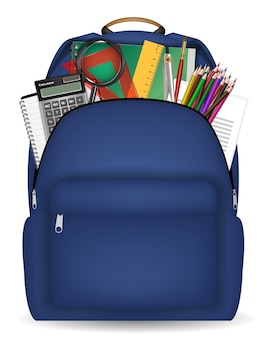 Student bag with study object inside vector