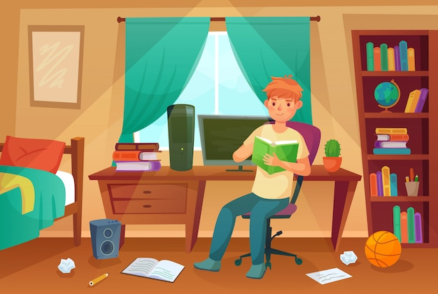 Student bedroom. teenager read bock, college homework and student living room apartment cartoon