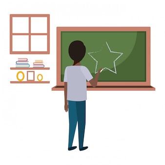 Student black drawing star in chalkboard