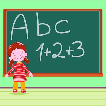 Student on the blackboard in classroom a b c letter