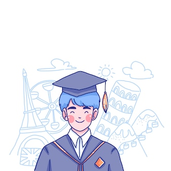 학생 소년 캐릭터 그림입니다. 학생이 해외에서 공부하고 있습니다.