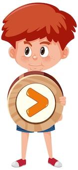 Студент мальчик держит основной математический символ или знак мультипликационного персонажа, изолированные на белом фоне
