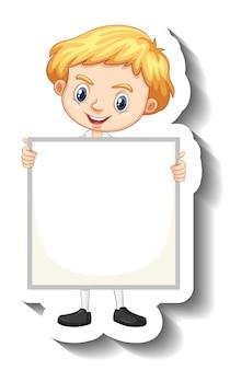 Студент мальчик держит пустую доску мультяшный стикер