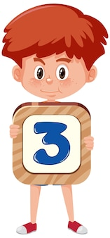 Student boy holding the number cartoon character isolated on white background