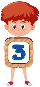 Студент мальчик держит номер мультипликационный персонаж, изолированные на белом фоне