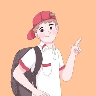 Student boy pointing gesture cartoon illustration.