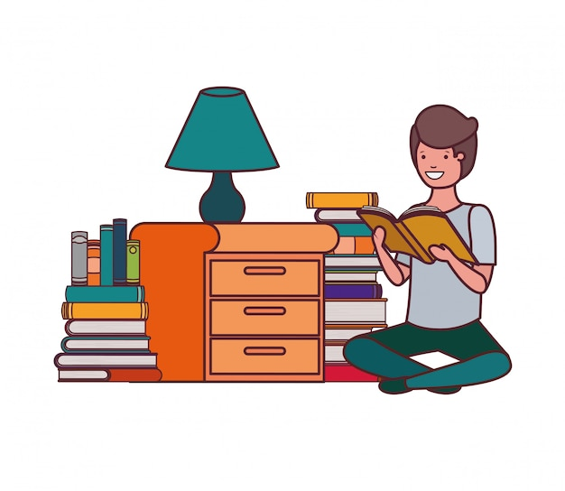 Student boy with reading book in the hands