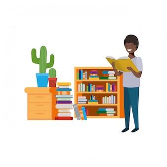 손에서 책을 읽고 학생 소년
