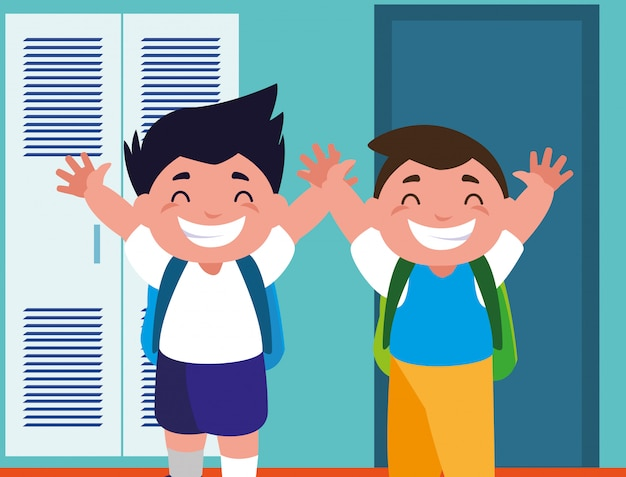 Student boys in school corridor with lockers, back to school