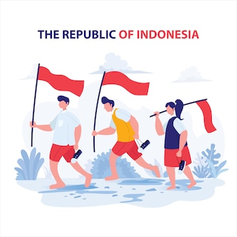Student carry flag for independence day indonesia