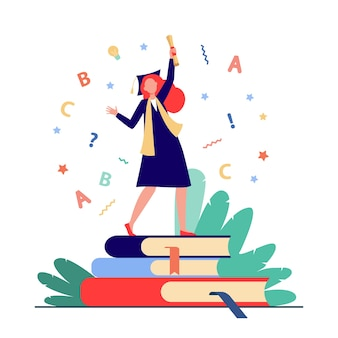 Student celebrating graduation. girl in gown and cap with diploma dancing on books flat vector illustration. graduate, education, college