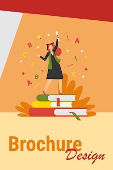 Студент празднует выпускной. девушка в платье и кепке с дипломом танцует на плоской векторной иллюстрации книг. выпускник, образование, концепция колледжа