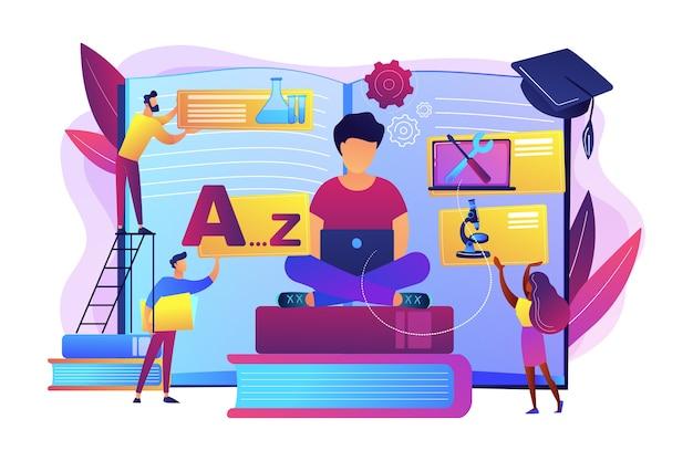 学生中心の教育、知識の習得、遠隔卒業。一口サイズの学習、自分のペースで学ぶ、柔軟な学習プロセスの概念。