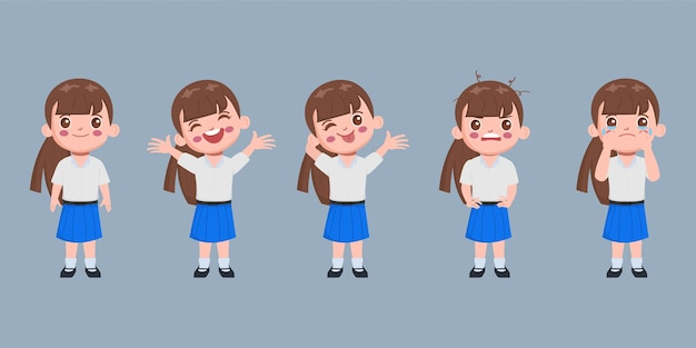 Student character in school uniform set