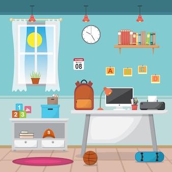 Student children study desk table interior room furniture flat design