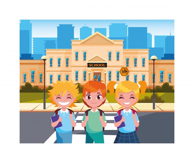 Student children with school building of primary