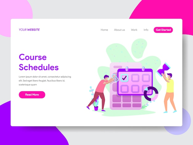 Student course schedule illustration for web pages