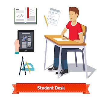 Student desk colourful flat icon set