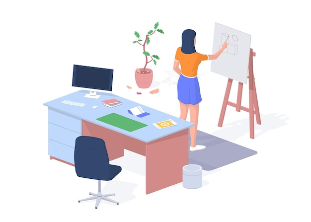 Student developing architectural project. desktop with computer and calculations. woman draws geometric figure near blackboard. elearning and skills development. vector realistic isometry