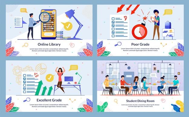 Student dining room illustration set