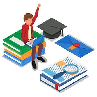 Студент делает онлайн-обучение на портативном компьютере. изометрические концепции электронного обучения иллюстрации. вектор