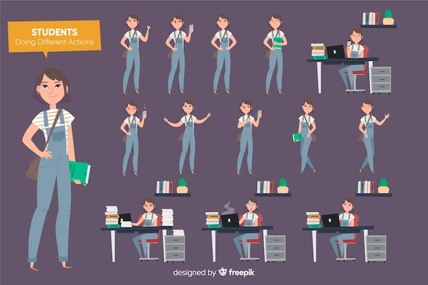 Student doing different actions