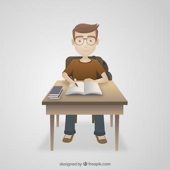 Student Doing His Homework Illustration