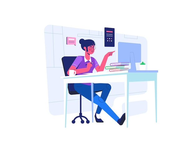 A student doing online assesment test in front of computer with books arround her. flat cartoon style