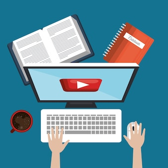 학생 교육 온라인, pc 서적 및 컵 커피