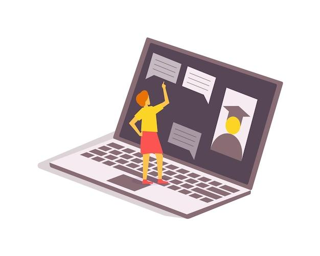 オンライン教育、ラップトップでのeラーニングに従事する学生