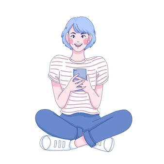 Student girl character illustration. she is playing mobile.