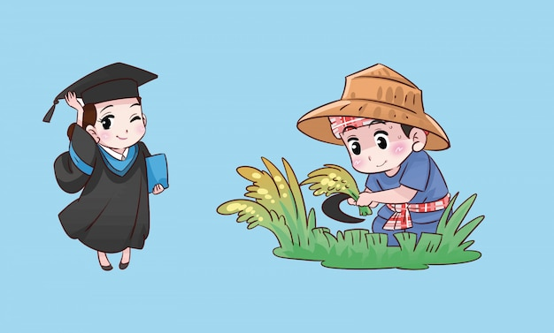 Student girl and farmer boy thai cartoon