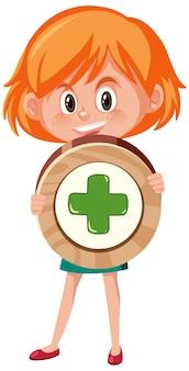 Студент девушка держит основной математический символ или знак мультипликационного персонажа, изолированные на белом фоне