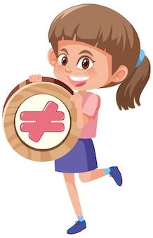 基本的な数学のシンボルまたは記号の漫画のキャラクターを保持している学生の女の子