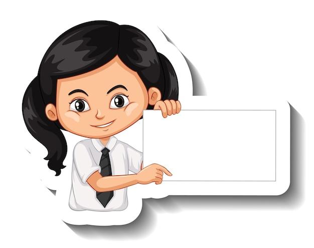 Student girl holding empty board cartoon sticker