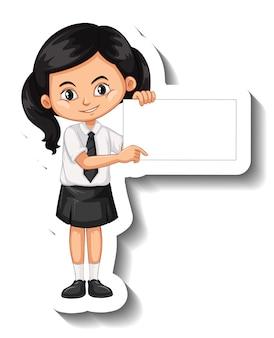 Студент девушка держит пустую доску мультяшный стикер