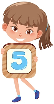 Student girl holding the number cartoon character isolated on white background