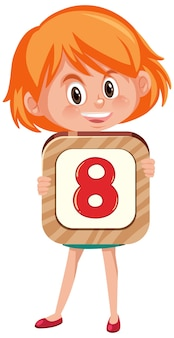 Student girl holding the number cartoon character